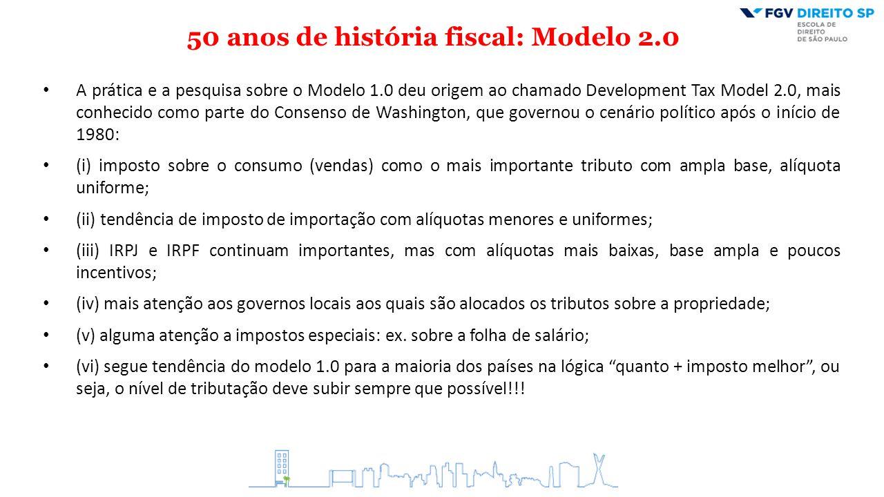 50 anos de história fiscal: Modelo 2.0 A prática e a pesquisa sobre o Modelo 1.0 deu origem ao chamado Development Tax Model 2.0, mais conhecido como