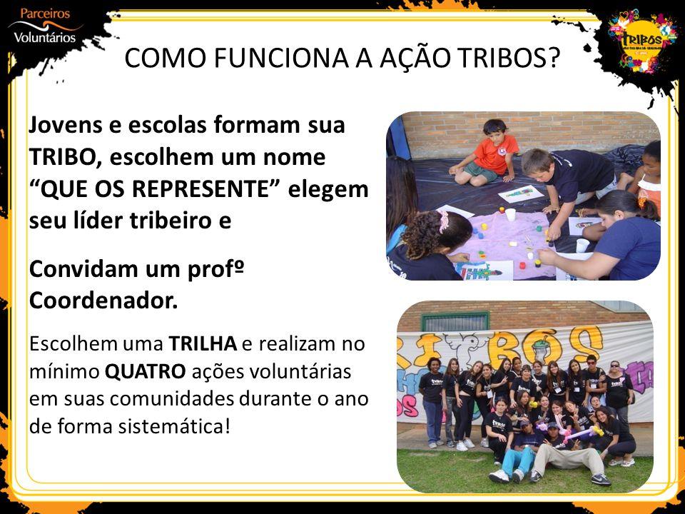 """Jovens e escolas formam sua TRIBO, escolhem um nome """"QUE OS REPRESENTE"""" elegem seu líder tribeiro e Convidam um profº Coordenador. Escolhem uma TRILHA"""