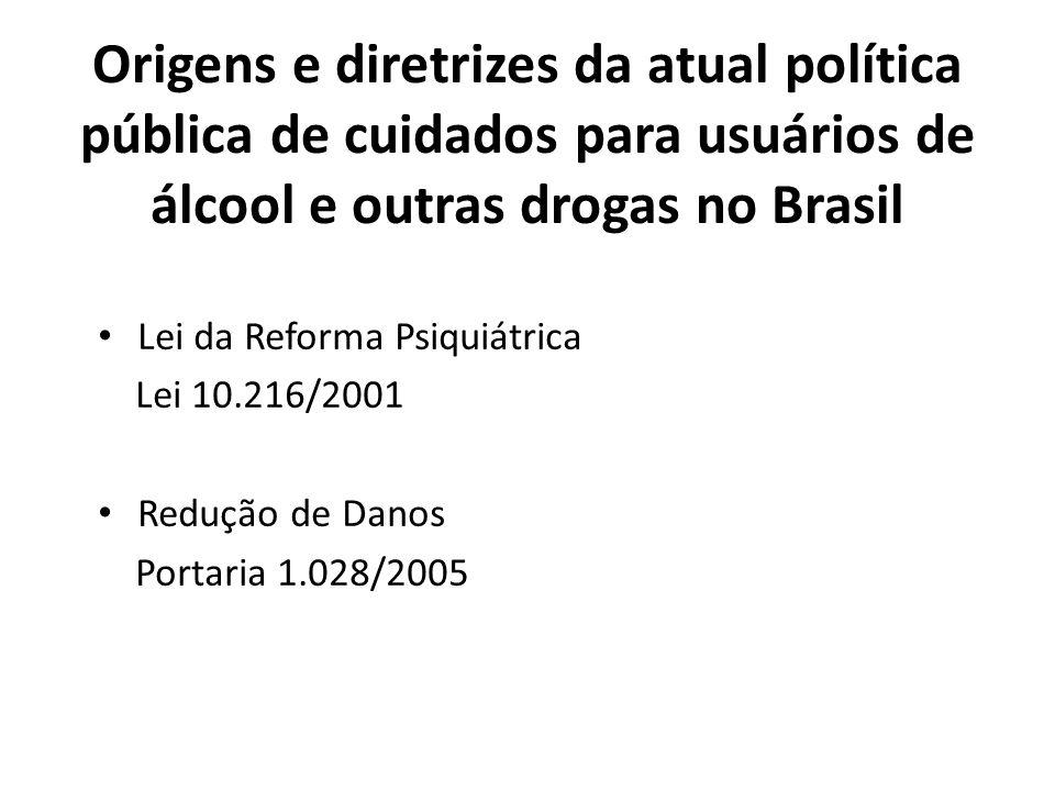 Origens e diretrizes da atual política pública de cuidados para usuários de álcool e outras drogas no Brasil Lei da Reforma Psiquiátrica Lei 10.216/2001 Redução de Danos Portaria 1.028/2005