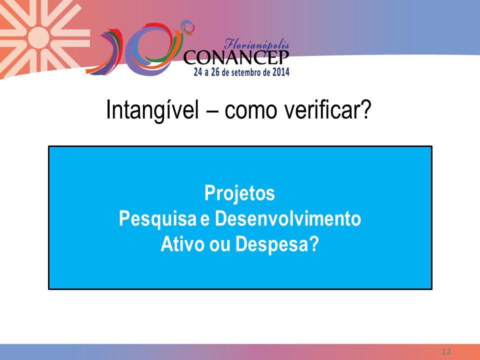 Intangível – como verificar? 12 Projetos Pesquisa e Desenvolvimento Ativo ou Despesa?