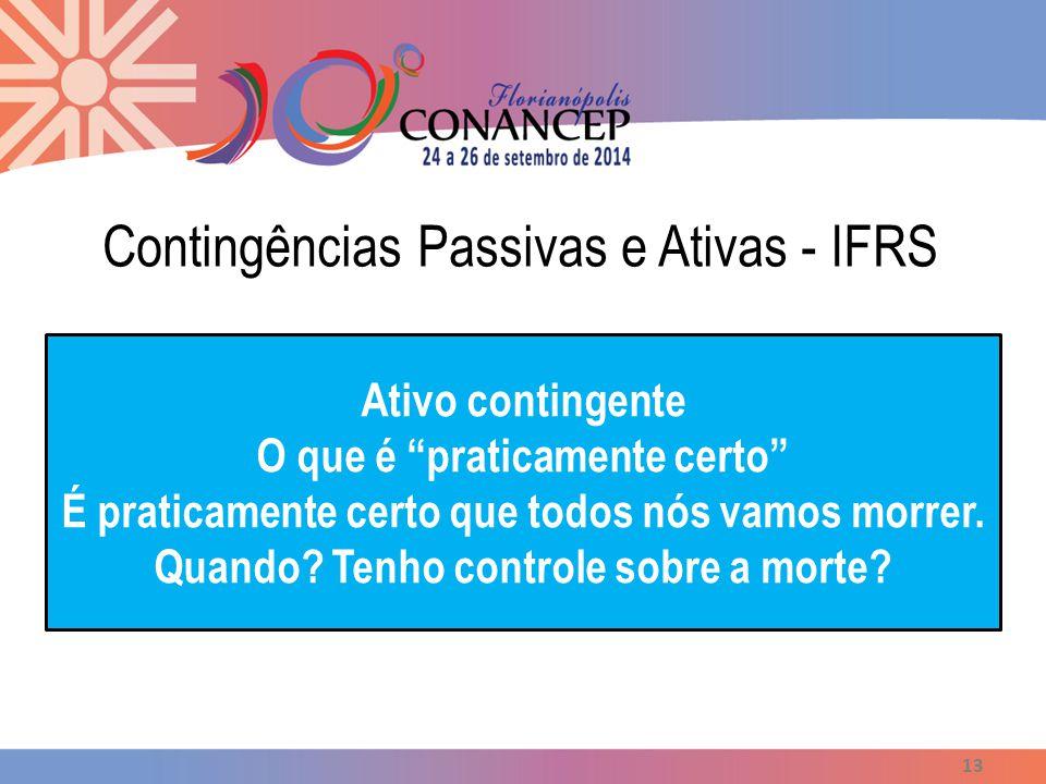 """Contingências Passivas e Ativas - IFRS 13 Ativo contingente O que é """"praticamente certo"""" É praticamente certo que todos nós vamos morrer. Quando? Tenh"""
