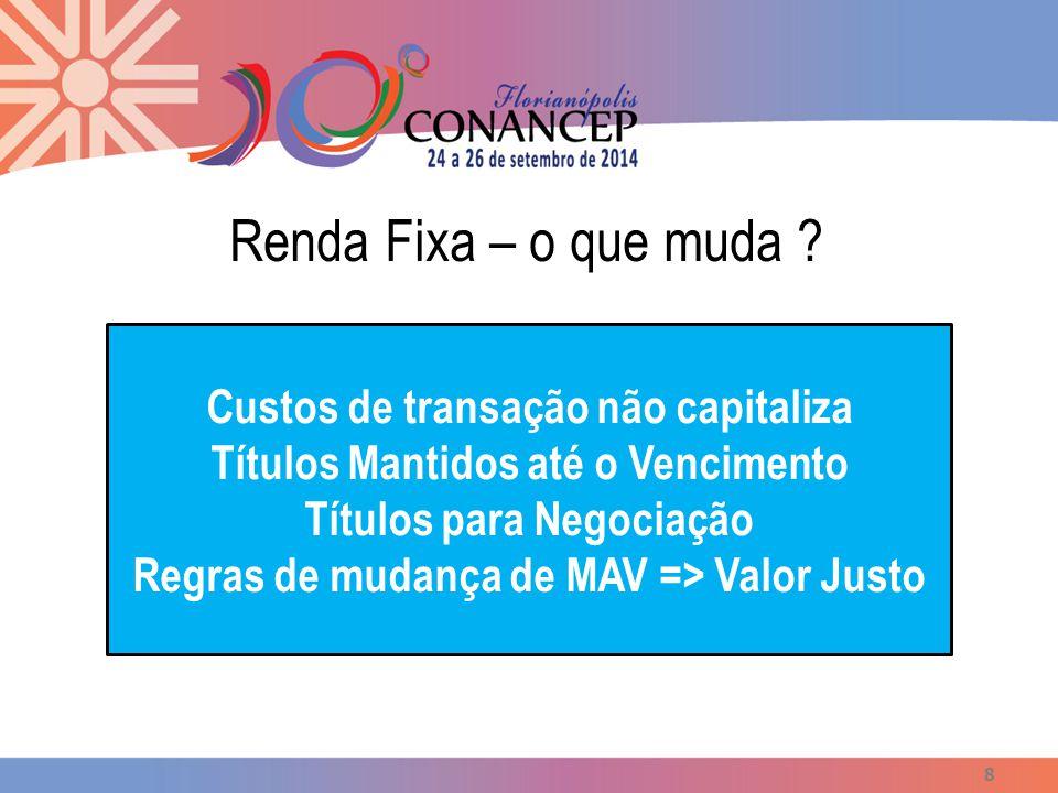 Renda Fixa – o que muda ? 8 Custos de transação não capitaliza Títulos Mantidos até o Vencimento Títulos para Negociação Regras de mudança de MAV => V