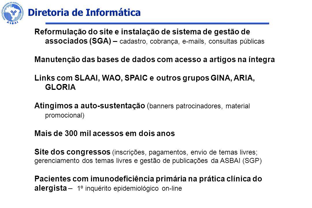 Reformulação do site e instalação de sistema de gestão de associados (SGA) – cadastro, cobrança, e-mails, consultas públicas Manutenção das bases de d