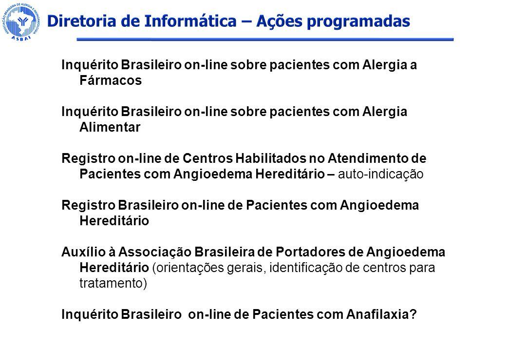 Inquérito Brasileiro on-line sobre pacientes com Alergia a Fármacos Inquérito Brasileiro on-line sobre pacientes com Alergia Alimentar Registro on-lin