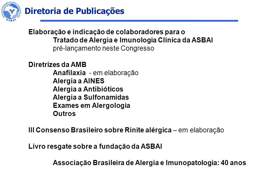Elaboração e indicação de colaboradores para o Tratado de Alergia e Imunologia Clínica da ASBAI pré-lançamento neste Congresso Diretrizes da AMB Anafi