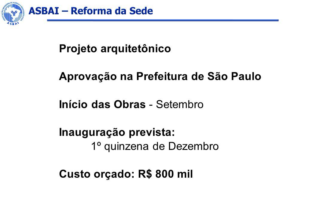 Projeto arquitetônico Aprovação na Prefeitura de São Paulo Início das Obras - Setembro Inauguração prevista: 1º quinzena de Dezembro Custo orçado: R$