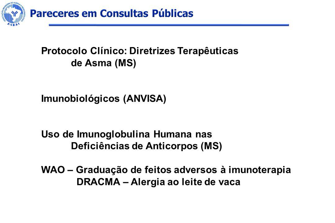 Protocolo Clínico: Diretrizes Terapêuticas de Asma (MS) Imunobiológicos (ANVISA) Uso de Imunoglobulina Humana nas Deficiências de Anticorpos (MS) WAO