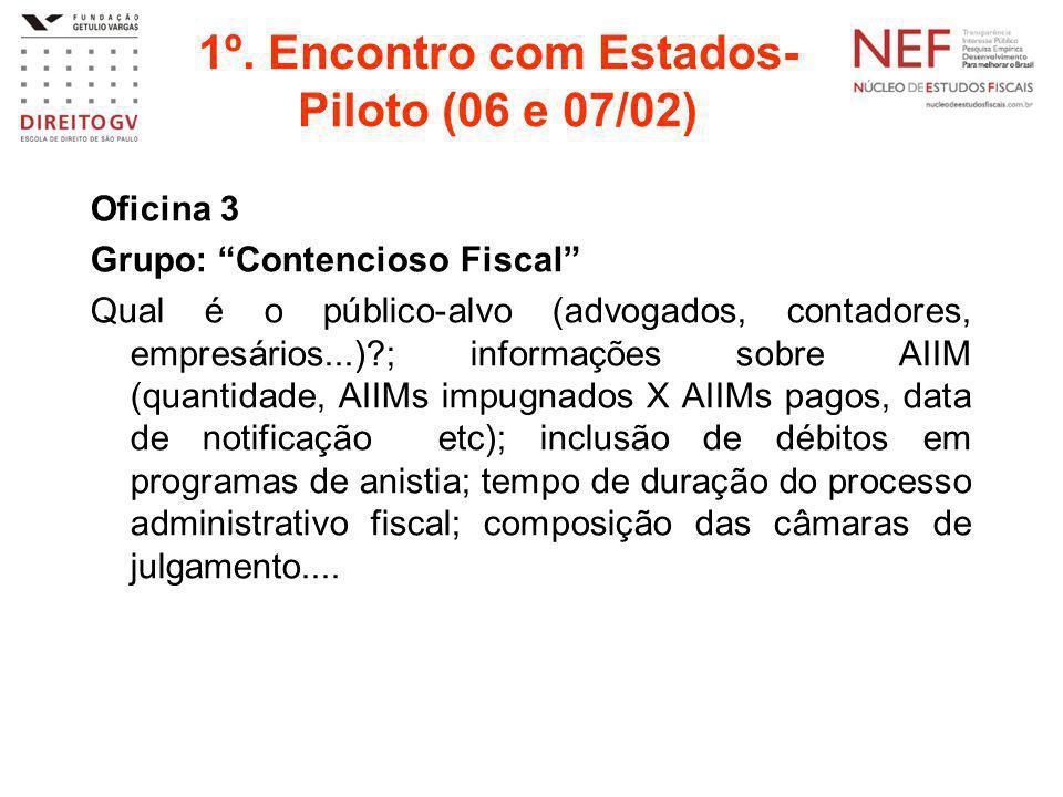 """1º. Encontro com Estados- Piloto (06 e 07/02) Oficina 3 Grupo: """"Contencioso Fiscal"""" Qual é o público-alvo (advogados, contadores, empresários...)?; in"""