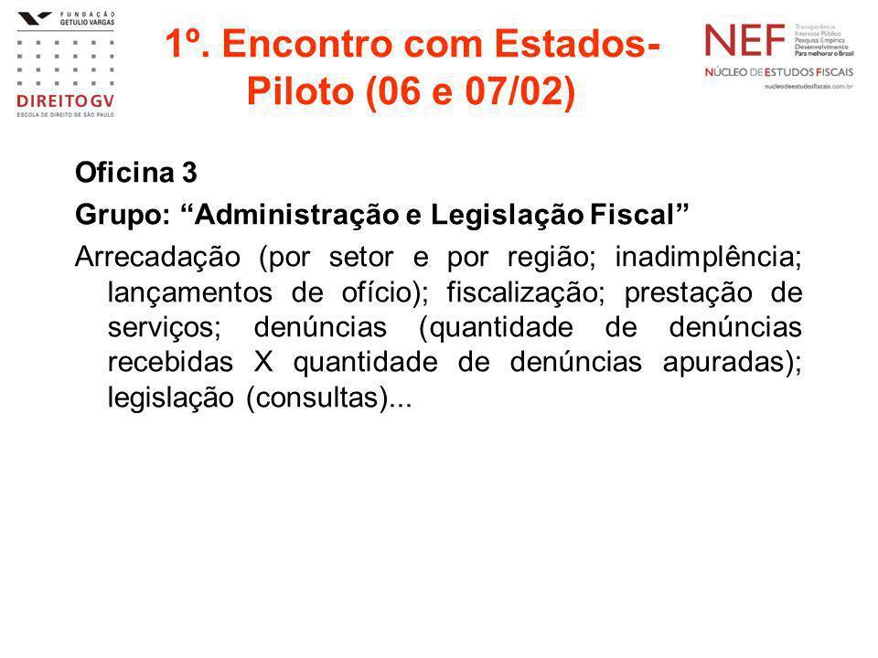 """1º. Encontro com Estados- Piloto (06 e 07/02) Oficina 3 Grupo: """"Administração e Legislação Fiscal"""" Arrecadação (por setor e por região; inadimplência;"""