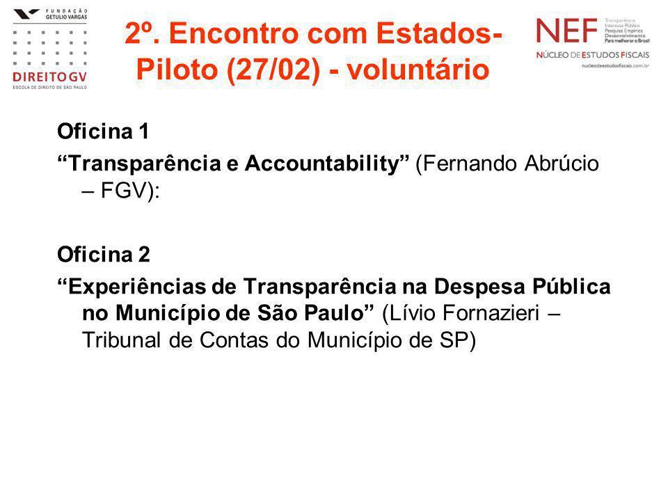 """2º. Encontro com Estados- Piloto (27/02) - voluntário Oficina 1 """"Transparência e Accountability"""" (Fernando Abrúcio – FGV): Oficina 2 """"Experiências de"""