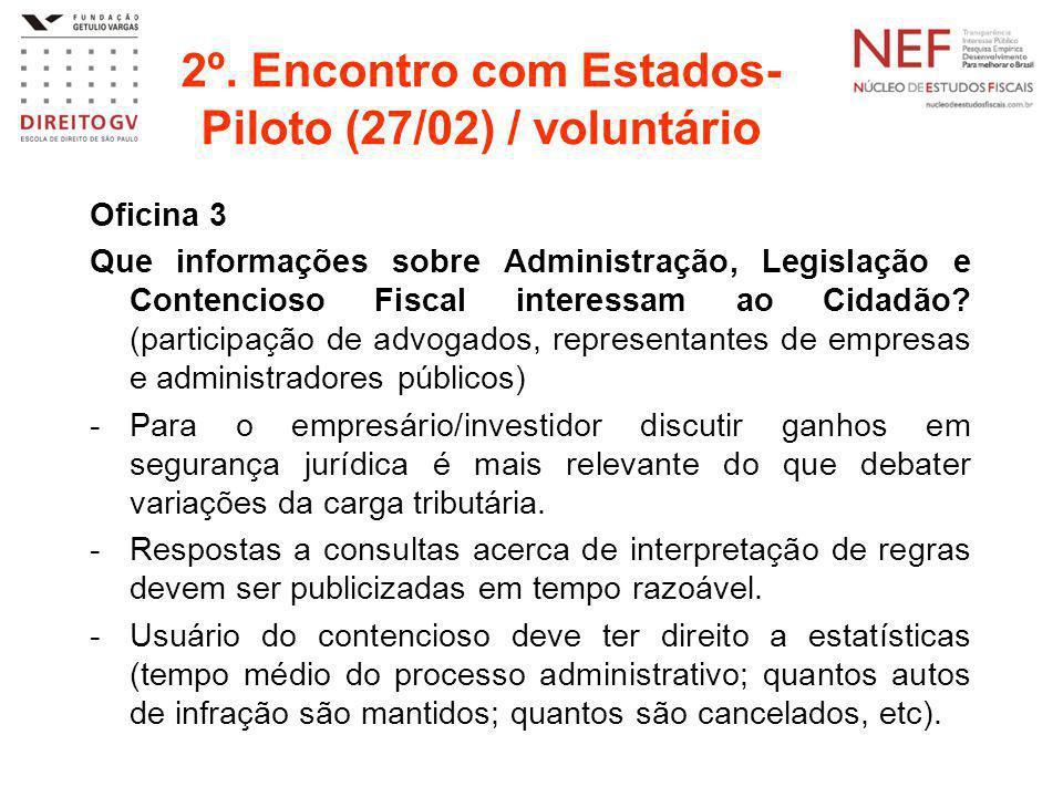 2º. Encontro com Estados- Piloto (27/02) / voluntário Oficina 3 Que informações sobre Administração, Legislação e Contencioso Fiscal interessam ao Cid