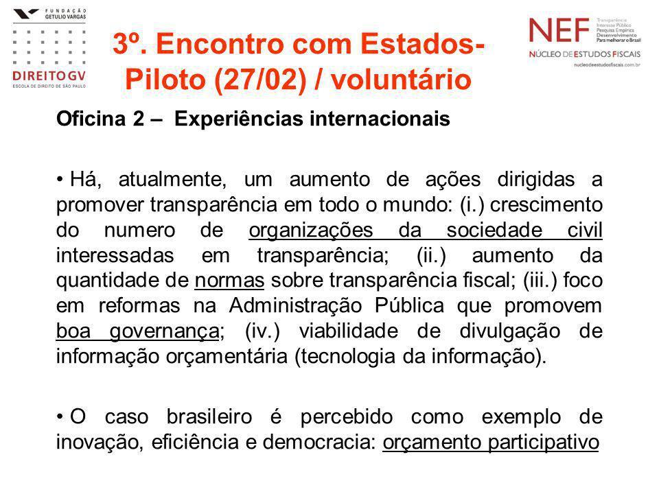 3º. Encontro com Estados- Piloto (27/02) / voluntário Oficina 2 – Experiências internacionais Há, atualmente, um aumento de ações dirigidas a promover