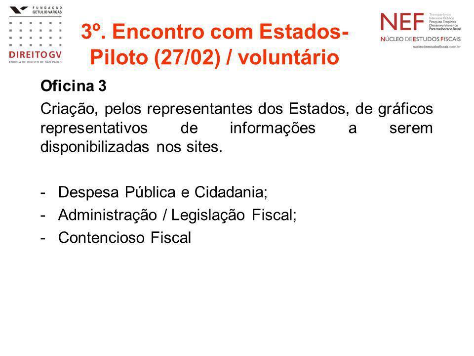 3º. Encontro com Estados- Piloto (27/02) / voluntário Oficina 3 Criação, pelos representantes dos Estados, de gráficos representativos de informações