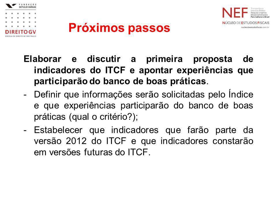 Próximos passos Elaborar e discutir a primeira proposta de indicadores do ITCF e apontar experiências que participarão do banco de boas práticas. -Def