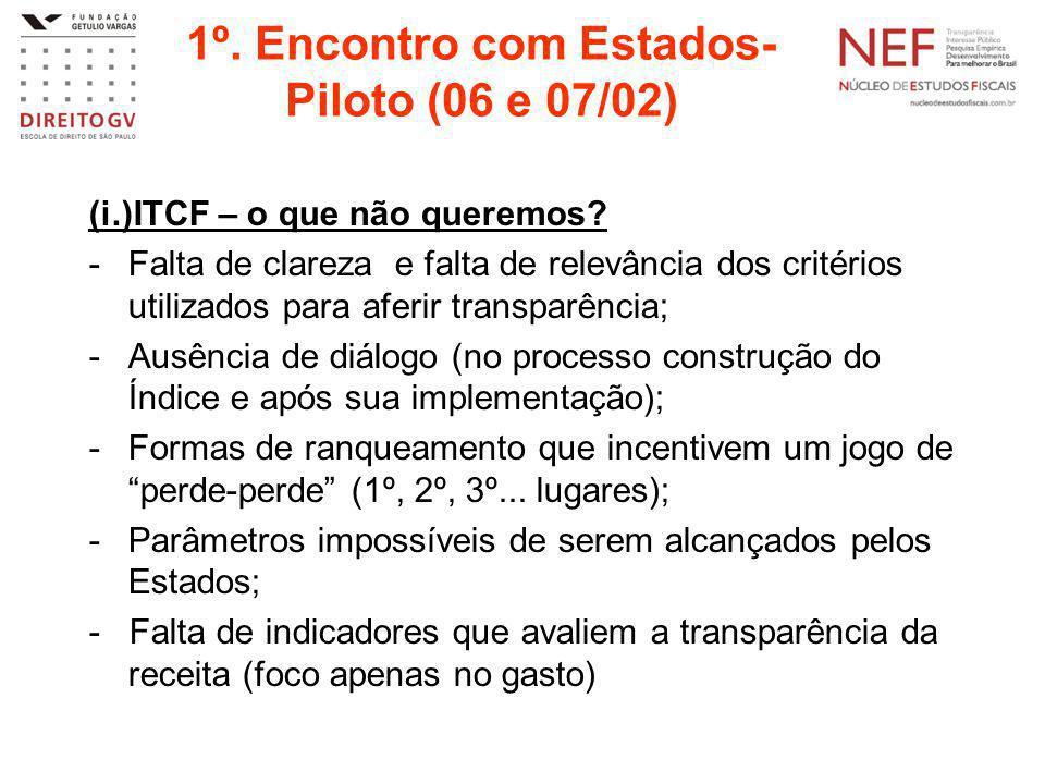 1º.Encontro com Estados- Piloto (06 e 07/02) (i.)ITCF – o que não queremos.