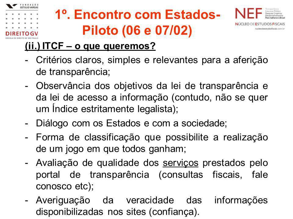 1º. Encontro com Estados- Piloto (06 e 07/02) (ii.) ITCF – o que queremos? -Critérios claros, simples e relevantes para a aferição de transparência; -