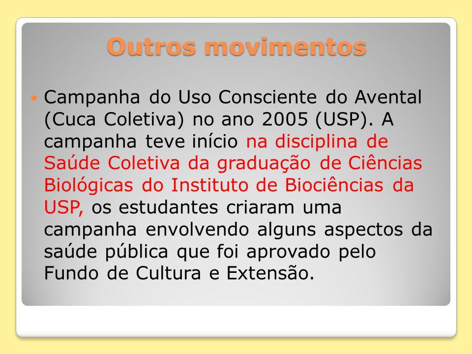 Outros movimentos Campanha do Uso Consciente do Avental (Cuca Coletiva) no ano 2005 (USP). A campanha teve início na disciplina de Saúde Coletiva da g
