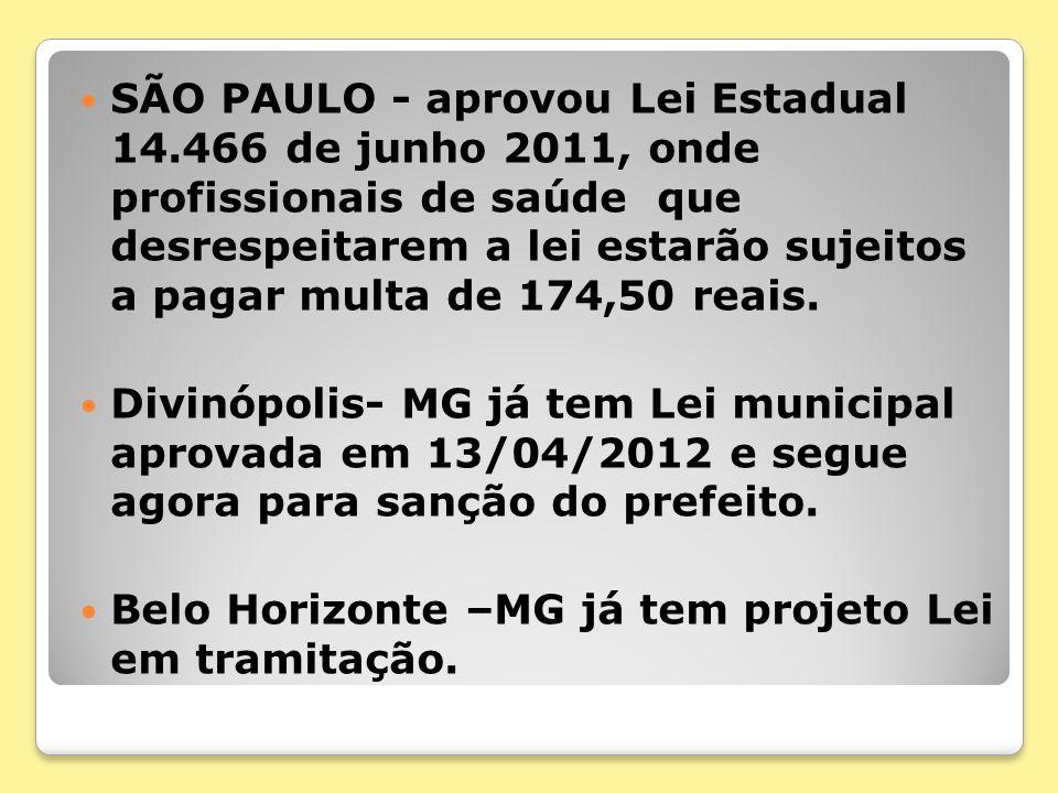 SÃO PAULO - aprovou Lei Estadual 14.466 de junho 2011, onde profissionais de saúde que desrespeitarem a lei estarão sujeitos a pagar multa de 174,50 r