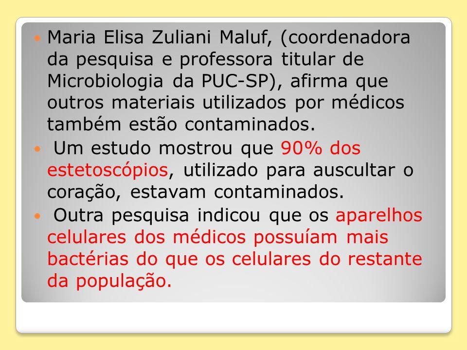 Maria Elisa Zuliani Maluf, (coordenadora da pesquisa e professora titular de Microbiologia da PUC-SP), afirma que outros materiais utilizados por médi