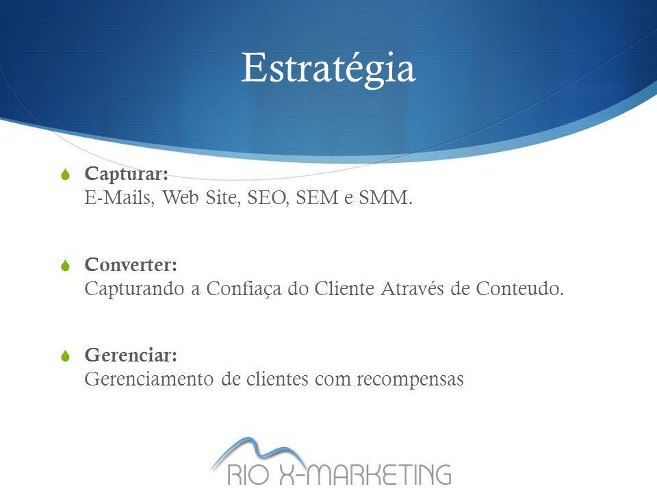 Estratégia  Capturar: E-Mails, Web Site, SEO, SEM e SMM.
