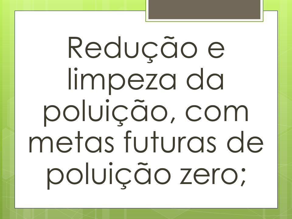 Redução e limpeza da poluição, com metas futuras de poluição zero;