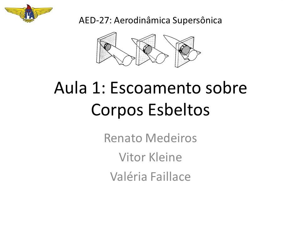 Aula 1: Escoamento sobre Corpos Esbeltos Renato Medeiros Vitor Kleine Valéria Faillace AED-27: Aerodinâmica Supersônica
