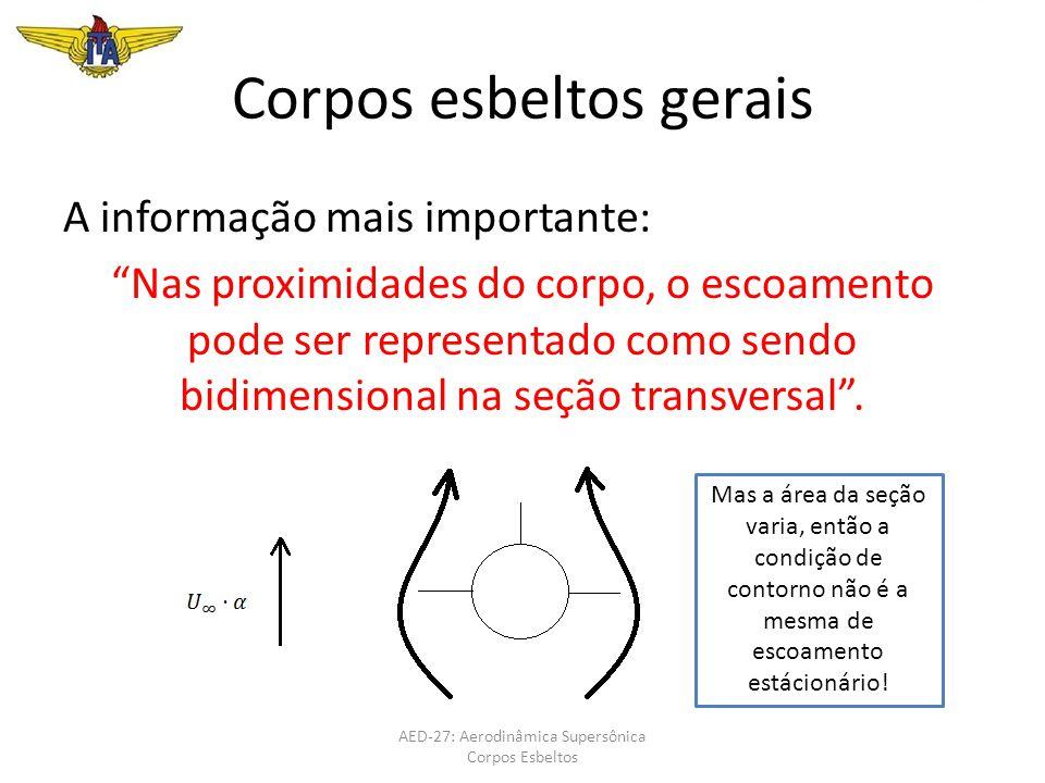 """Corpos esbeltos gerais A informação mais importante: """"Nas proximidades do corpo, o escoamento pode ser representado como sendo bidimensional na seção"""