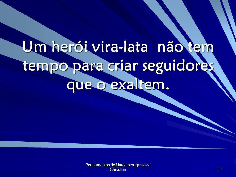 Pensamentos de Marcelo Augusto de Carvalho 11 Um herói vira-lata não tem tempo para criar seguidores que o exaltem.