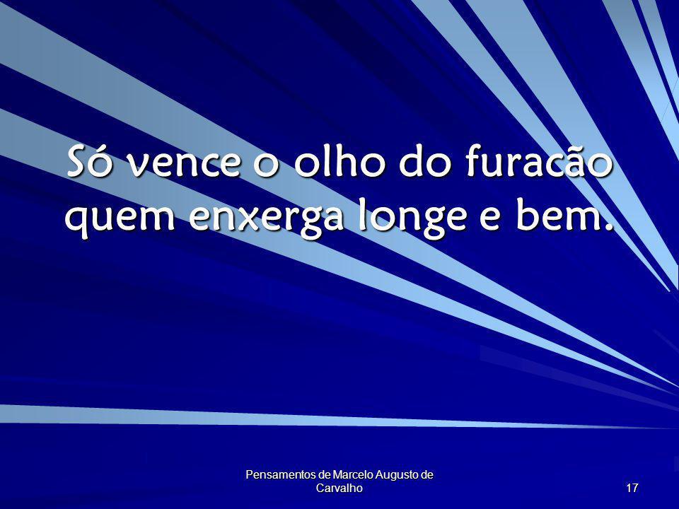 Pensamentos de Marcelo Augusto de Carvalho 17 Só vence o olho do furacão quem enxerga longe e bem.