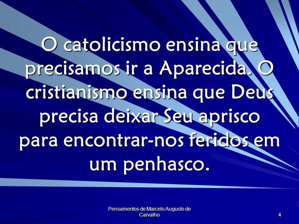 Pensamentos de Marcelo Augusto de Carvalho 4 O catolicismo ensina que precisamos ir a Aparecida. O cristianismo ensina que Deus precisa deixar Seu apr