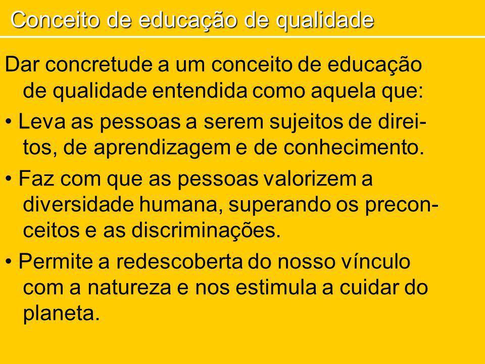 Dar concretude a um conceito de educação de qualidade entendida como aquela que: Leva as pessoas a serem sujeitos de direi- tos, de aprendizagem e de