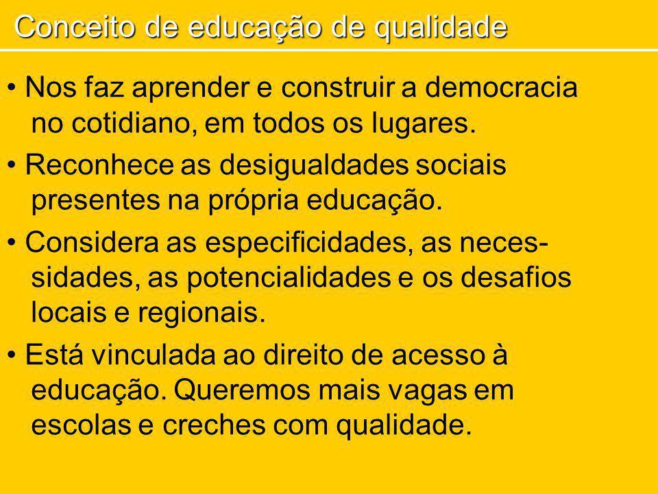 Nos faz aprender e construir a democracia no cotidiano, em todos os lugares. Reconhece as desigualdades sociais presentes na própria educação. Conside
