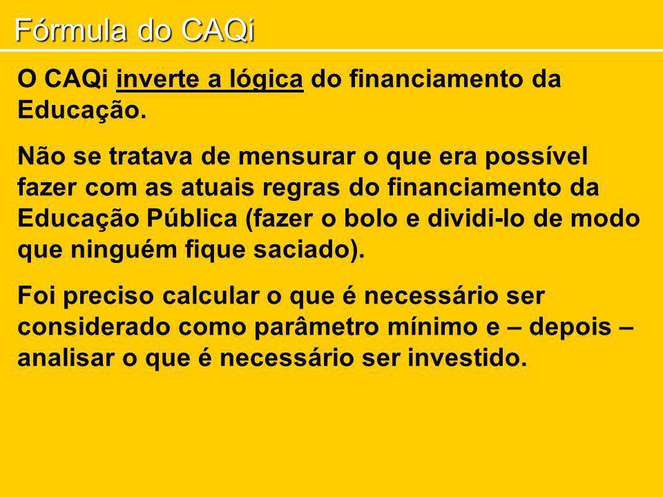 Fórmula do CAQi O CAQi inverte a lógica do financiamento da Educação. Não se tratava de mensurar o que era possível fazer com as atuais regras do fina