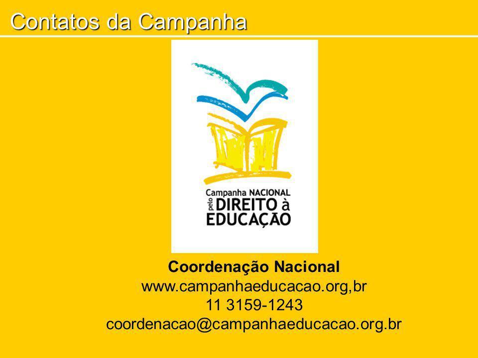 Contatos da Campanha Coordenação Nacional www.campanhaeducacao.org,br 11 3159-1243 coordenacao@campanhaeducacao.org.br