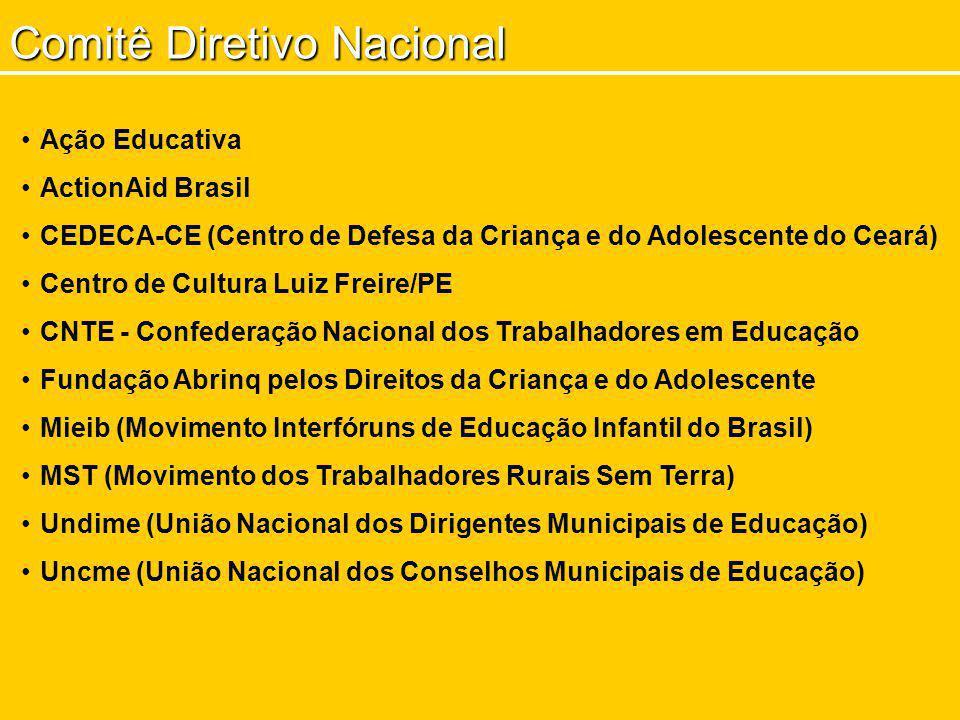 Comitê Diretivo Nacional Ação Educativa ActionAid Brasil CEDECA-CE (Centro de Defesa da Criança e do Adolescente do Ceará) Centro de Cultura Luiz Frei