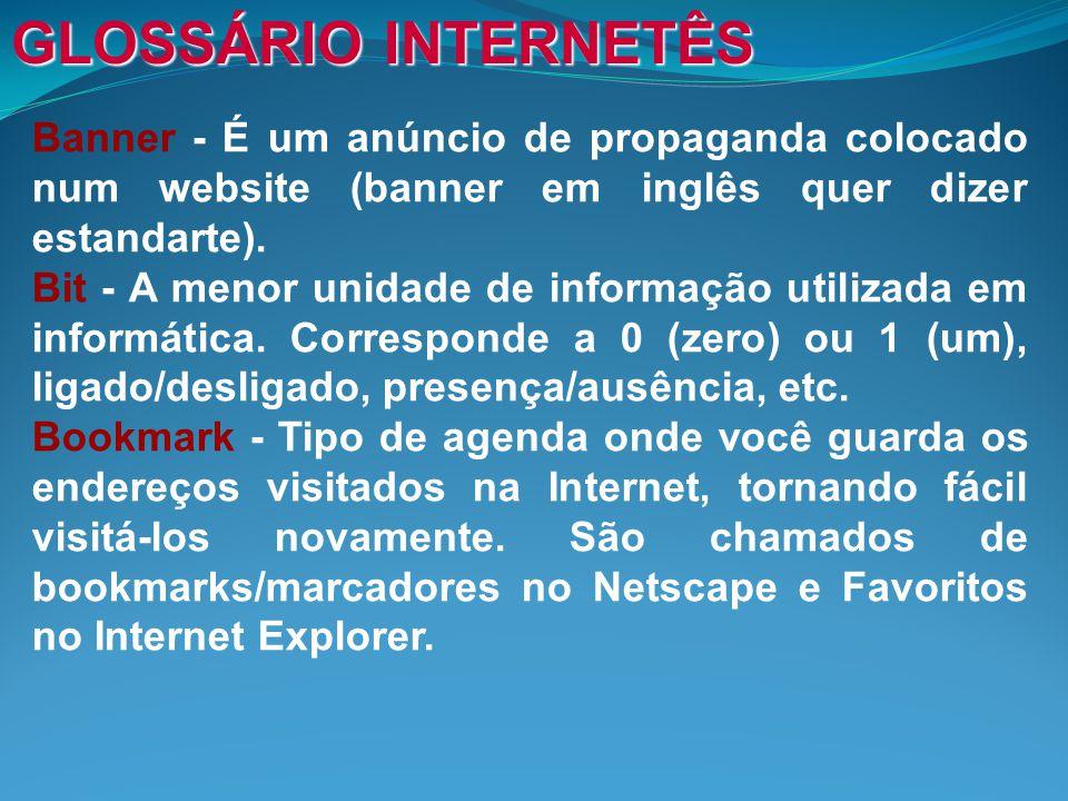 Banner - É um anúncio de propaganda colocado num website (banner em inglês quer dizer estandarte).