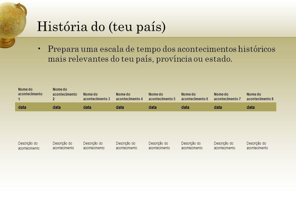 História do (teu país) Prepara uma escala de tempo dos acontecimentos históricos mais relevantes do teu país, província ou estado.