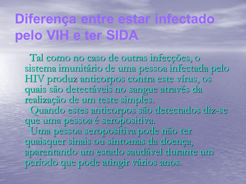 Diferença entre estar infectado pelo VIH e ter SIDA Tal como no caso de outras infecções, o sistema imunitário de uma pessoa infectada pelo HIV produz