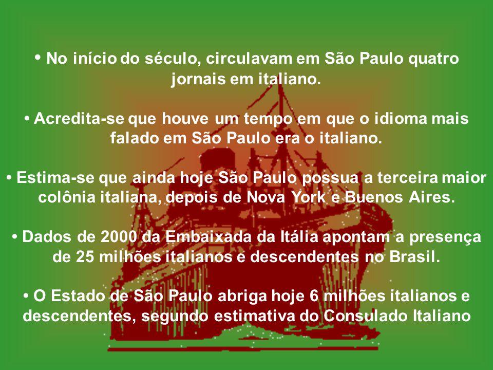 1870 a 1920, o Brasil recebeu cerca de 1,5 milhão de imigrantes italianos. De 1870 a 1920, o Brasil recebeu cerca de 1,5 milhão de imigrantes italiano
