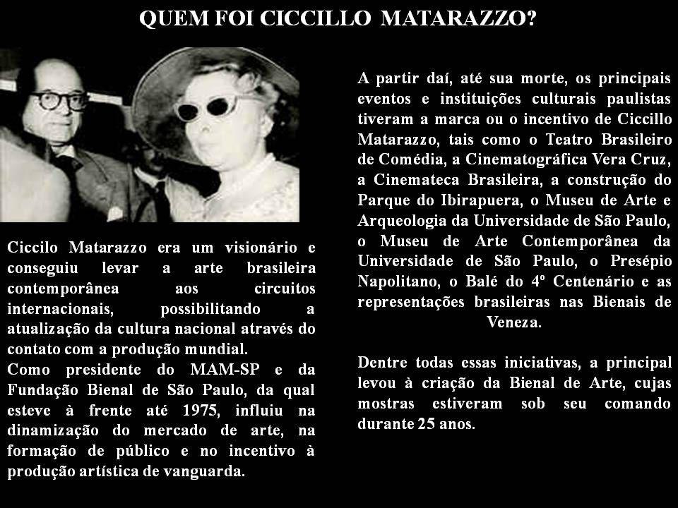 Francisco Matarazzo Sobrinho, o Ciccillo, nasceu em 20 de fevereiro de 1898 em São Paulo. A fortuna que Ciccillo veio herdar teve origem nas conquista