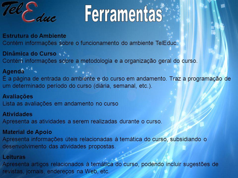 Estrutura do Ambiente Contém informações sobre o funcionamento do ambiente TelEduc.
