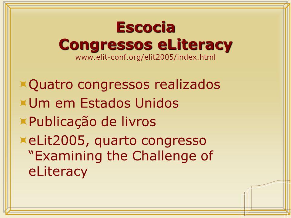 Escocia Congressos eLiteracy Escocia Congressos eLiteracy www.elit-conf.org/elit2005/index.html  Quatro congressos realizados  Um em Estados Unidos  Publicação de livros  eLit2005, quarto congresso Examining the Challenge of eLiteracy