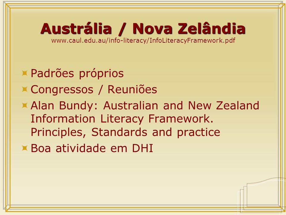 Austrália / Nova Zelândia Austrália / Nova Zelândia www.caul.edu.au/info-literacy/InfoLiteracyFramework.pdf  Padrões próprios  Congressos / Reuniões  Alan Bundy: Australian and New Zealand Information Literacy Framework.