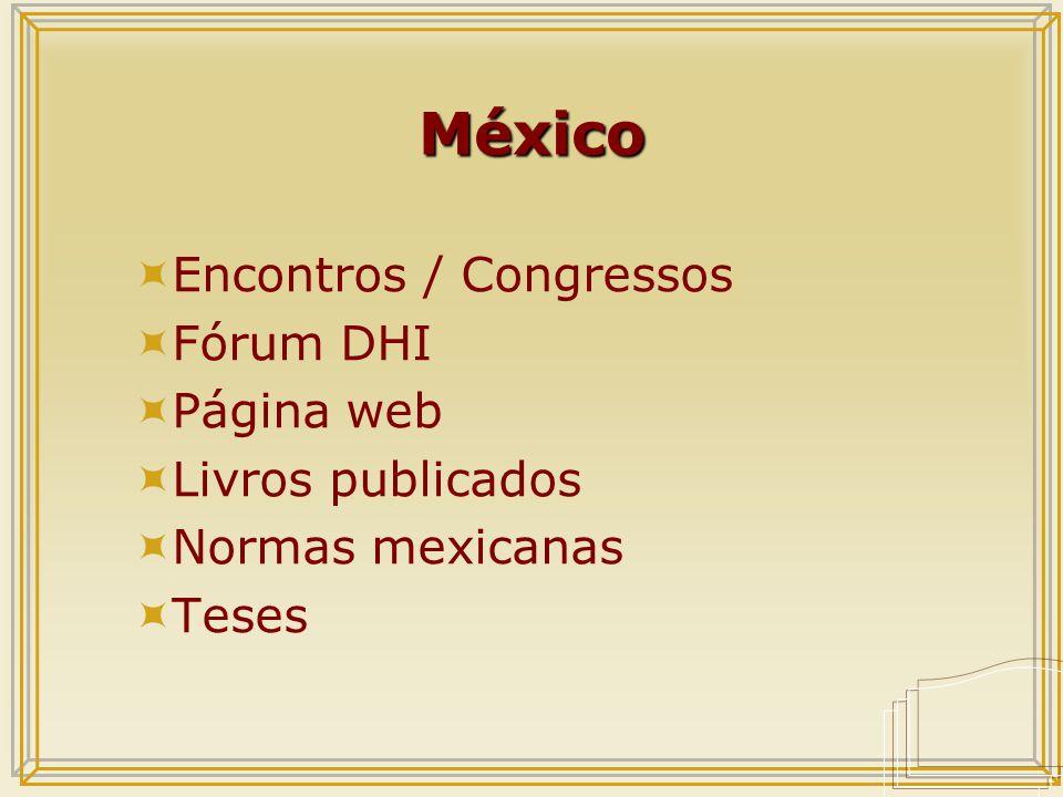 México  Encontros / Congressos  Fórum DHI  Página web  Livros publicados  Normas mexicanas  Teses