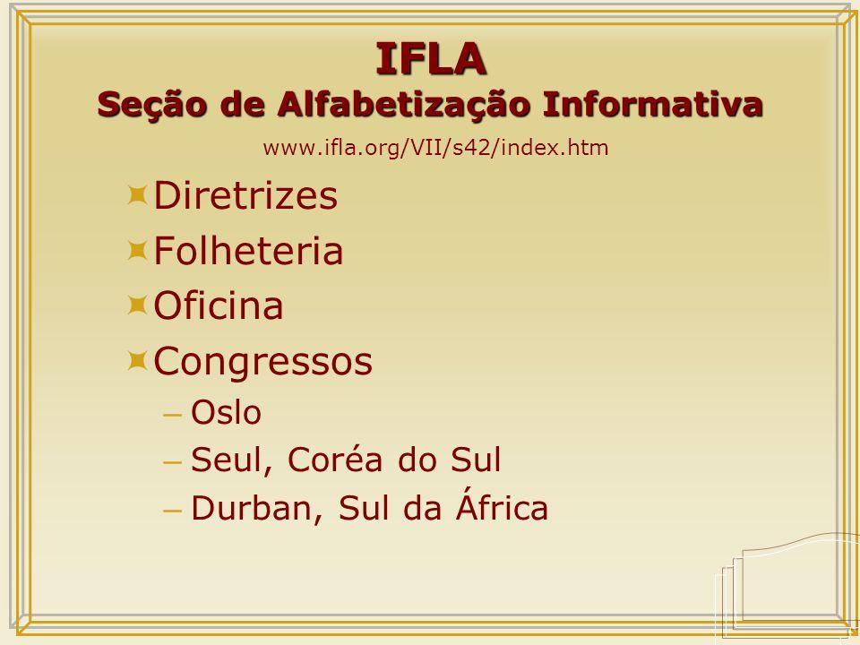 IFLA Seção de Alfabetização Informativa IFLA Seção de Alfabetização Informativa www.ifla.org/VII/s42/index.htm  Diretrizes  Folheteria  Oficina  Congressos – Oslo – Seul, Coréa do Sul – Durban, Sul da África