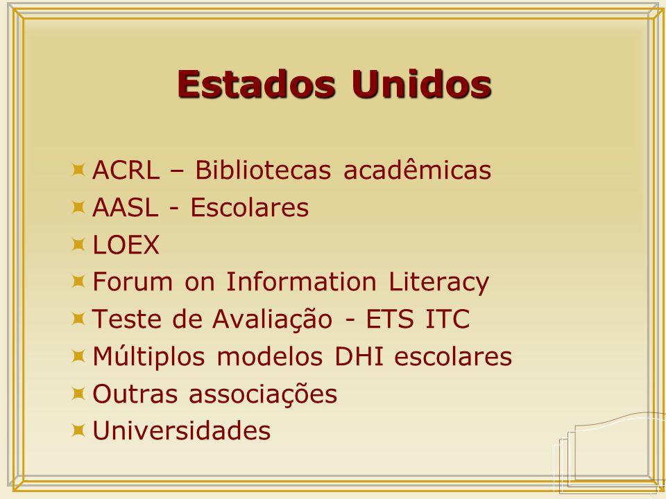 Estados Unidos  ACRL – Bibliotecas acadêmicas  AASL - Escolares  LOEX  Forum on Information Literacy  Teste de Avaliação - ETS ITC  Múltiplos modelos DHI escolares  Outras associações  Universidades