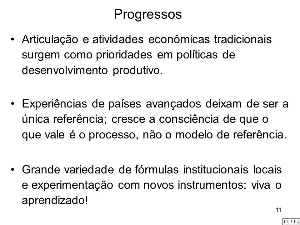 11 Progressos Articulação e atividades econômicas tradicionais surgem como prioridades em políticas de desenvolvimento produtivo.