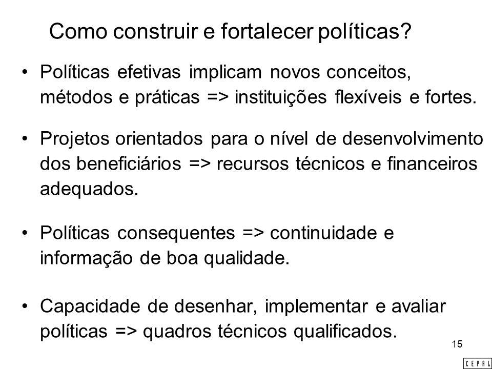 15 Como construir e fortalecer políticas.
