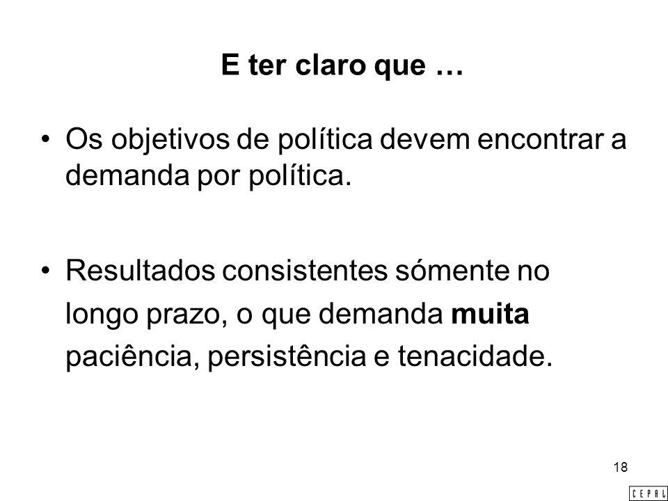 18 E ter claro que … Os objetivos de política devem encontrar a demanda por política.