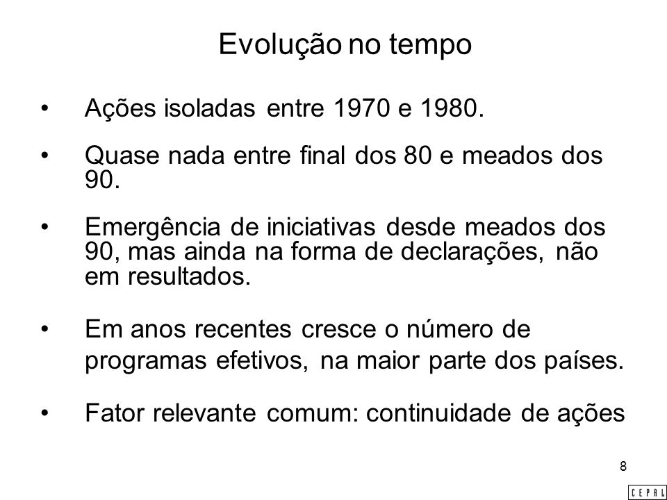 8 Evolução no tempo Ações isoladas entre 1970 e 1980.